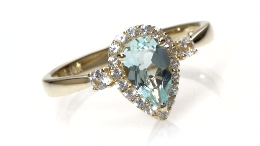 Zales Pear Shaped Aquamarine And Lab Created White