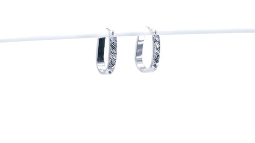 Diamond-Cut Basket Weave U-Hoop Earrings in 10K White Gold - image 1 from the video