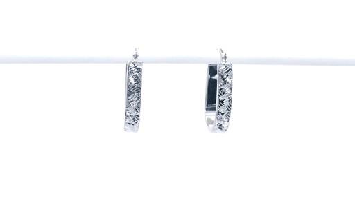 Diamond-Cut Basket Weave U-Hoop Earrings in 10K White Gold - image 10 from the video
