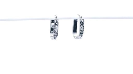 Diamond-Cut Basket Weave U-Hoop Earrings in 10K White Gold - image 2 from the video