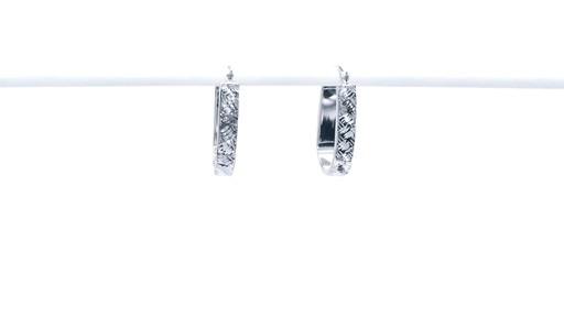 Diamond-Cut Basket Weave U-Hoop Earrings in 10K White Gold - image 3 from the video