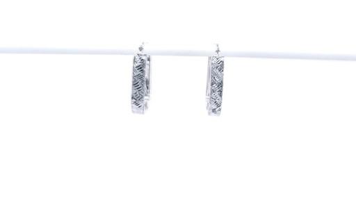 Diamond-Cut Basket Weave U-Hoop Earrings in 10K White Gold - image 4 from the video