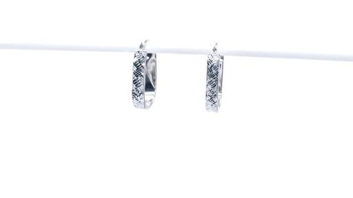 Diamond-Cut Basket Weave U-Hoop Earrings in 10K White Gold - image 5 from the video
