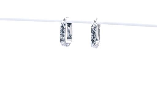 Diamond-Cut Basket Weave U-Hoop Earrings in 10K White Gold - image 6 from the video