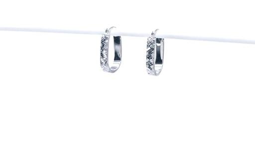 Diamond-Cut Basket Weave U-Hoop Earrings in 10K White Gold - image 7 from the video