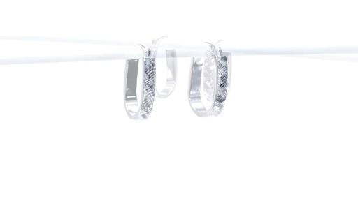 Diamond-Cut Basket Weave U-Hoop Earrings in 10K White Gold - image 8 from the video