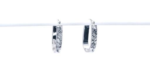 Diamond-Cut Basket Weave U-Hoop Earrings in 10K White Gold - image 9 from the video