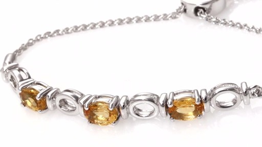 Zales Oval Citrine Three Stone Bolo Bracelet In Sterling