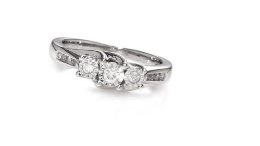 Diamond Three Stone Promise Ring in 10K White Gold Women s Size regula