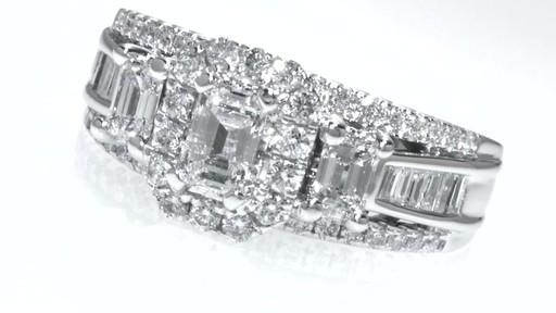 emerald cut frame past present future ring in 14k