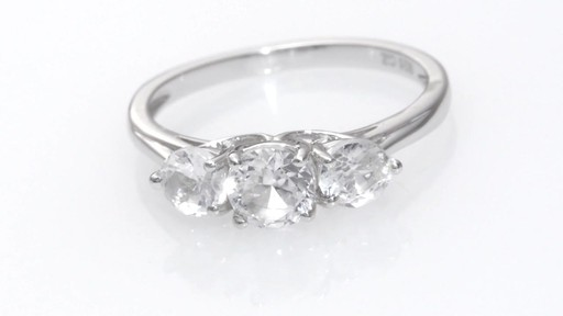 Zales 5.2mm Lab-Created White Sapphire Three Stone Ring in 10K White Gold D0sWyfvE