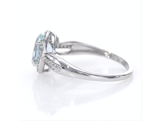 Oval Aquamarine And 1 8 Ct T W Diamond Frame Open Shank