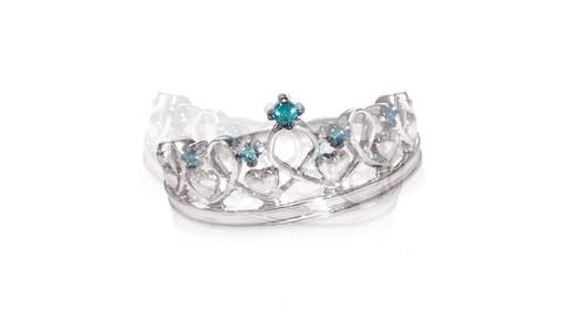 Zales Enhanced Blue Diamond Accent Heart Crown Ring In