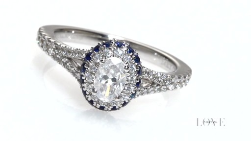 Oval Diamond And Blue Sapphire Frame Engagement Ring In