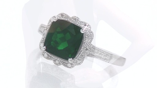 Cushion Cut Lab Created Emerald Vintage Ring in Sterling Silver Shop Zale
