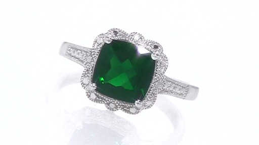 Cushion Cut Lab Created Emerald Vintage Ring In Sterling