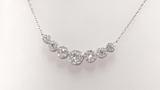 Diamond Seven Stone Frame Necklace In 10k White Gold 1 Ct