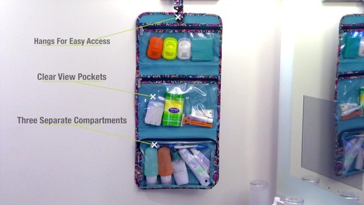 Travelon Boho Trifold Hanging Toiletry Kit - image 5 from the video