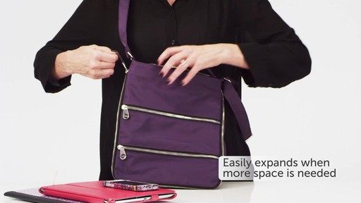 Sacs Collection by Annette Ferber Triple Zip- Expandable Cross Body Bag - eBags.com - image 8 from the video