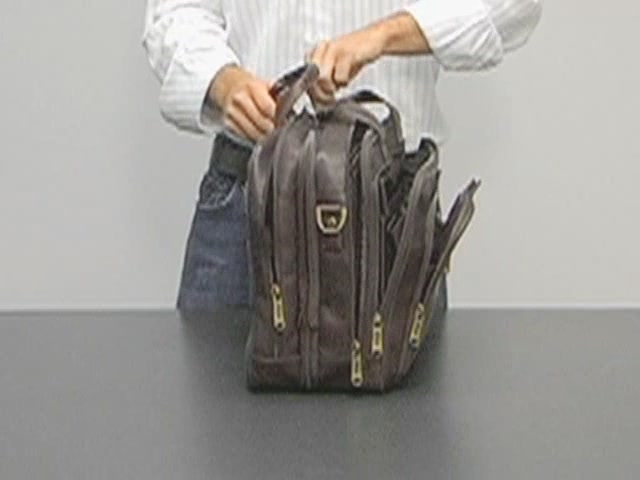 eBags Laptop Collection Colombian Leather Deluxe Laptop Brief - image 9 from the video