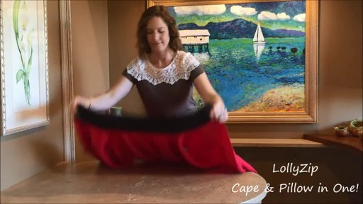LollyZip Wrap n' Roll Travel Cape and Neck Pillow in One - image 2 from the video