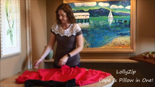 LollyZip Wrap n' Roll Travel Cape and Neck Pillow in One - image 6 from the video