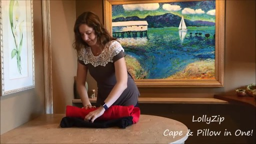 LollyZip Wrap n' Roll Travel Cape and Neck Pillow in One - image 7 from the video