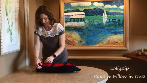 LollyZip Wrap n' Roll Travel Cape and Neck Pillow in One - image 9 from the video