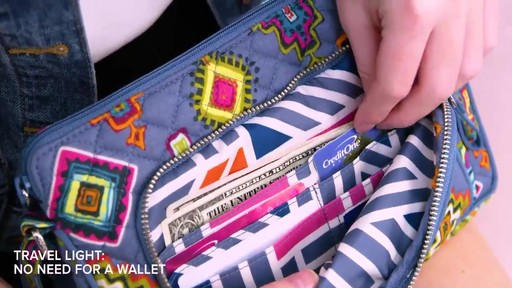 Vera Bradley Iconic RFID Little Hipster - image 3 from the video