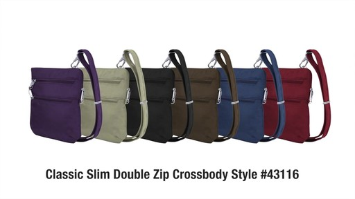 Travelon Anti-Theft Classic Slim Double Zip Crossbody Bag - Shop eBags.com - image 10 from the video