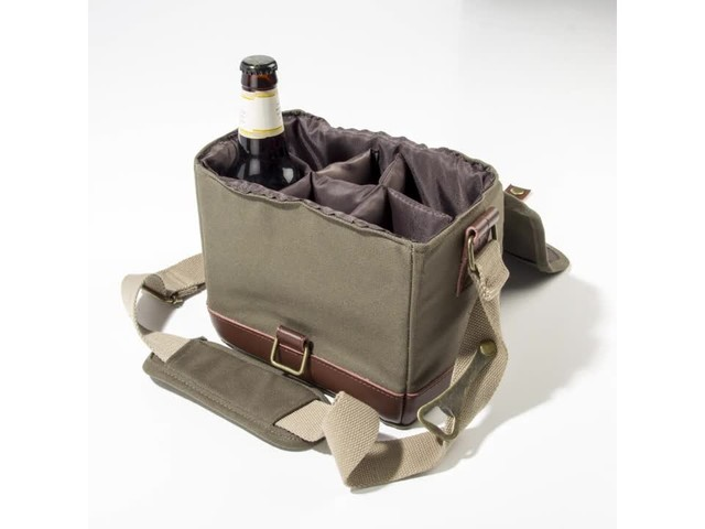Cathy's Concepts Personalized Insulated Waxed Canvas Bottle Carrier - image 2 from the video