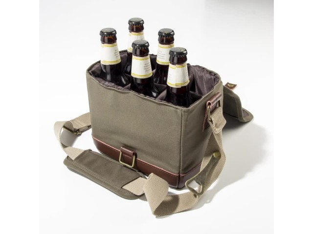 Cathy's Concepts Personalized Insulated Waxed Canvas Bottle Carrier - image 3 from the video