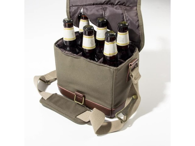 Cathy's Concepts Personalized Insulated Waxed Canvas Bottle Carrier - image 4 from the video