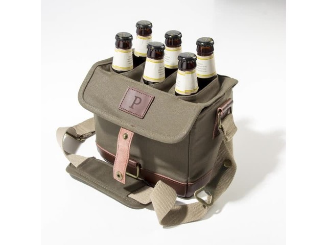 Cathy's Concepts Personalized Insulated Waxed Canvas Bottle Carrier - image 5 from the video