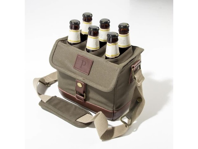 Cathy's Concepts Personalized Insulated Waxed Canvas Bottle Carrier - image 6 from the video
