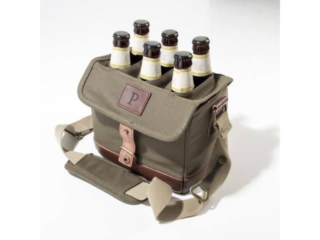 Cathy's Concepts Personalized Insulated Waxed Canvas Bottle Carrier - image 7 from the video