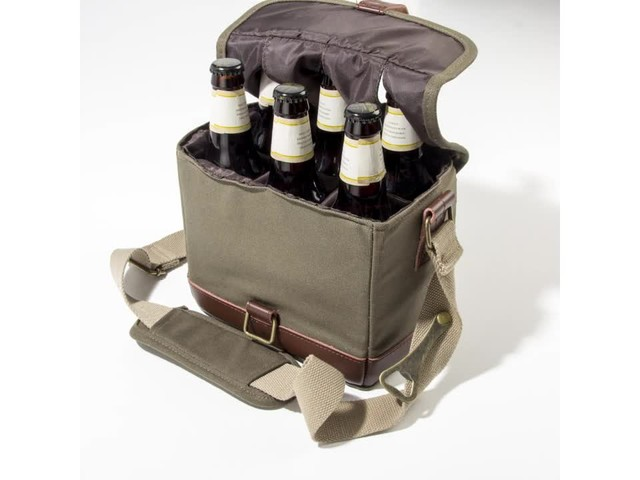 Cathy's Concepts Personalized Insulated Waxed Canvas Bottle Carrier - image 8 from the video