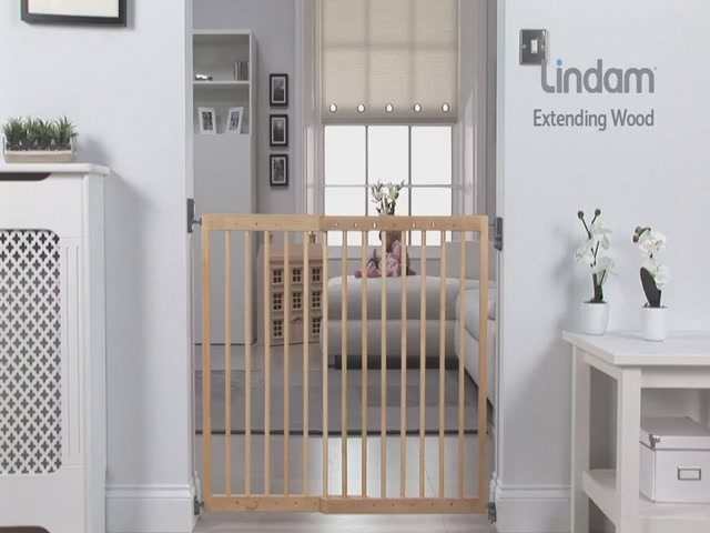 Lindam Extending Wooden Safety Gate - Kiddicare - image 1 from the video