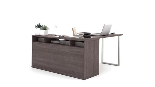 Bestar Bureau Solay en L avec meuble classeur et bibliothque