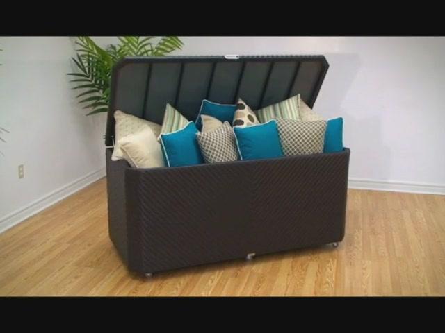 Hudson coffre de rangement tiss de 1 104 l pour terrasse meubles de patio - Pouf coffre rangement ...