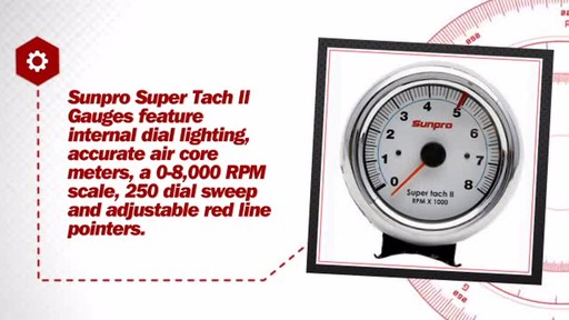 sunpro super tach ii 3 3  8 quot  white face   chrome bezel Mercruiser Electrical System Wiring Diagrams Equus Tachometer Wiring Diagram