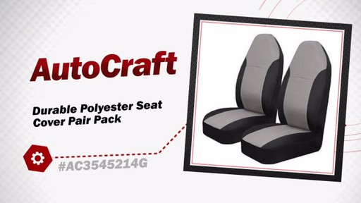 AutoCraft Durable Polyester Seat Cover Pair Pack AC3545214G - image 3 from the video