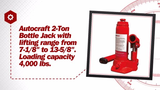 AutoCraft 2-Ton Hydraulic Bottle Jack EQP1002PV/AC928 - image 6 from the video