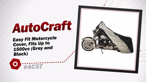 AutoCraft Easy Fit Motorcycle Cover, Fits Up to 1500cc (Grey and Black) AC57 - image 3 from the video