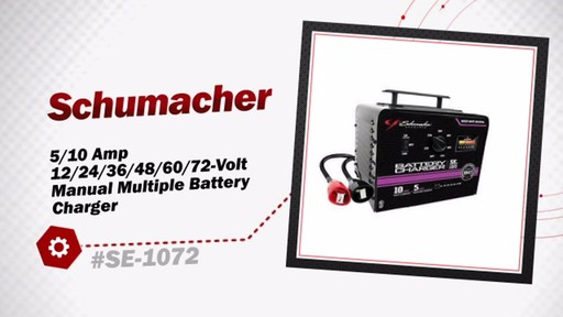 Schumacher 5/10 Amp 12/24/36/48/60/72-Volt Manual Multiple Battery Charger SE-1072 - image 3 from the video