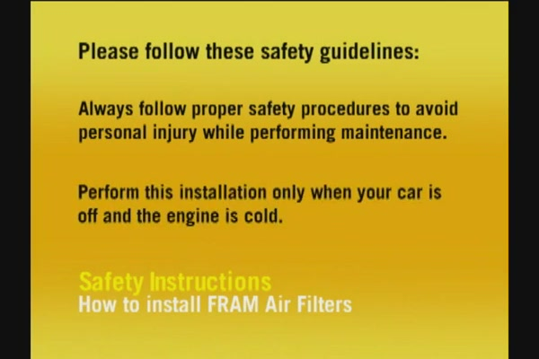 FRAM Installing Air Filters - FRAM and Advance Auto Parts CA6541 - image 1 from the video