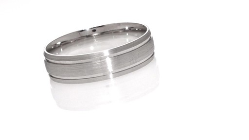 Mens 60mm Comfort Fit Double Groove Brushed Wedding Band In 10K White Gold