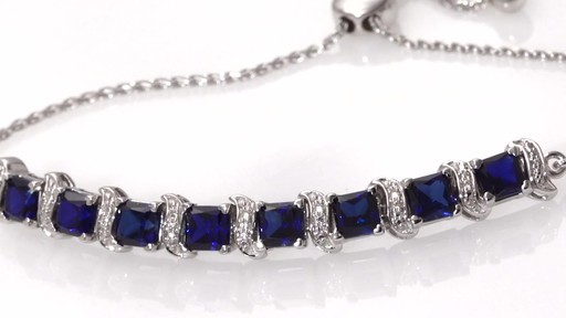 d32f98225f94 5.0mm Lab-Created Blue Sapphire and Diamond Accent Bar Bolo Bracelet in  Sterling Silver