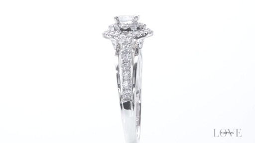 Vera Wang LOVE Collection 0.70 CT. T.W. Oval Diamond Double Frame ...