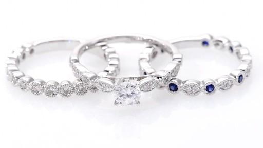 8da2a0b9856681 T.W. Certified Canadian Diamond and Blue Sapphire Bridal Set in 14K White  Gold